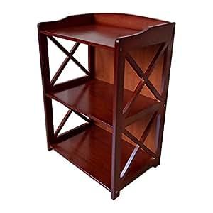 Zheng Hui Shop Multifunctional solid wood shelf/floor bookshelf living room storage rack, two red layers, environmental protection (Size : 42cm)
