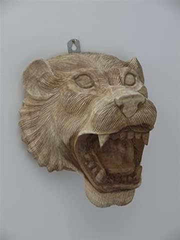 Hand Carved Wooden Lions Head Safari Wild Animal Bust Wall