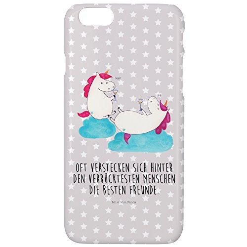 Mr. & Mrs. Panda Hülle, Cover, iPhone 7 / 7S Handyhülle Einhörner Sekt mit Spruch - Farbe Grau Pastell