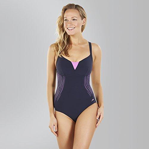 Speedo Damen Shinedream Placement 1 Piece Swimwear Speedo Navy/Orchid