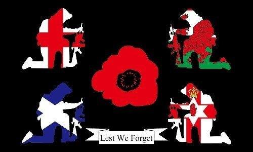 Ersten Weltkrieges, dass wir nicht vergessen Großbritannien merkt sich Poppy 5ft x 3ft Flag + 59mm Button