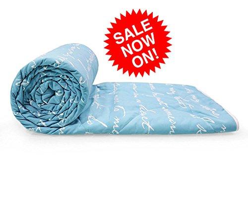 Reversible Microfibre Comforter/Blanket/Quilt/Duvet, AC Single, Blue & White - Divine Casa