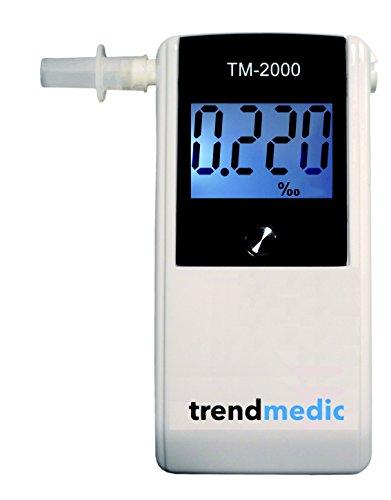 Trendmedic Alkoholtester TM-2000 - Digitaler Atemalkohol-Tester mit elektrochemischen Sensor - polizeigenau - Anzeige in Promille