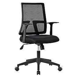LANGRIA Bürostuhl Drehstuhl Ergonomischer Schreibtischstuhl mit Armlehnen, Höhenverstellung und Wippfunktion für Soho- oder Büroarbeit