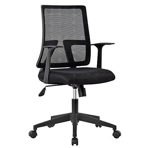 LANGRIA Comfortable Medium Back Mesh Task Office Chair, Ergonomic Design, Mesh Upholstered Seat Pan, Synchro Tilt Mechanism, 360 Degree Swivel, Max Weight Capacity 130kg, Black Back