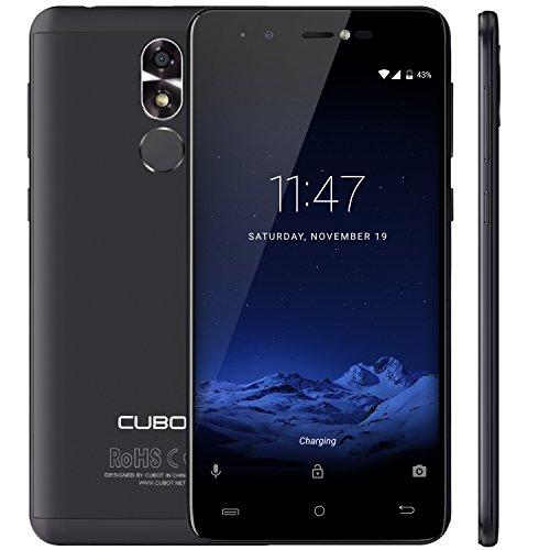 Cubot R9 (2017) Android 7.0 Nougat Dual Sim Smartphone ohne Vertrag, Ultra dünnes 5 Zoll HD IPS Touch Display, 2GB+16GB interner Speicher, 13MP Hauptkamera / 5MP Frontkamera, 2.5D gebogener Kapazitiver Bildshirm, nutzbares GPS, Benachrichtigungs LED, Metallrückabdeckung mit 0.1s Fingerabdruck Sensor - 360° Erkennung, Schwarz