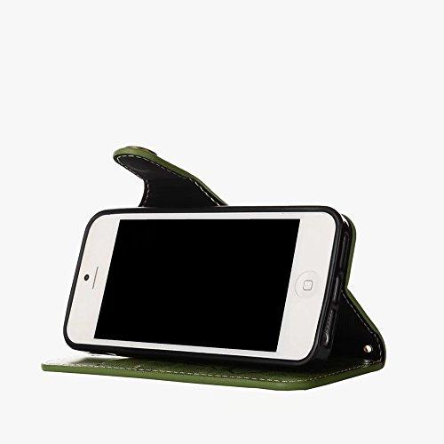 Geprägte Floral Retro PU-Leder Magnetverschluss Geldbörse Tasche mit Lanyard für iPhone 5 / 5s / SE ( Color : Khaki ) Green