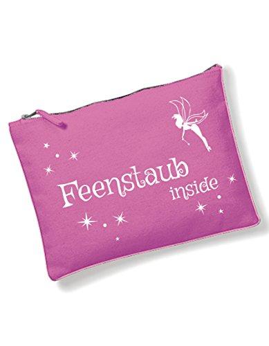 Feenstaub Inside pink Kosmetiktasche mit coolem Spruch Bedruckt/Kulturbeutel mit Verschiedene SPR?Che ausw?hlbar von 3Elfen / Schwarz/Tasche/Handtasche/Waschtasche/Schminktasche