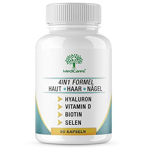 MediCares® 360mg Hyaluronsäure + Biotin | Selen | Vitamin D - 90 Kapseln (für 3 Monate) - Anti Aging Formel für gesunde Haut, Haar, Nägel & Gelenke - Made in Germany