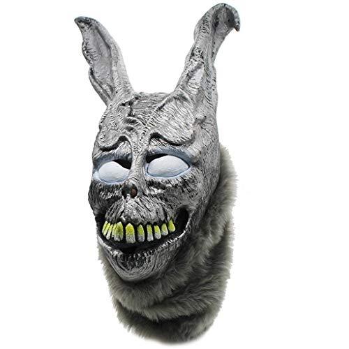 RANK Kaninchenmaske Halloween The Bunny Latexkapuze mit Flauschiger realistischer Kunstpelzmaske ()