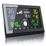 CSL - Funk Wetterstation mit Farbdisplay - inkl. Außensensor - Funkuhr - Innen und Außentemperatur - Luftdruck Höhenkorrektur - Prognosen...