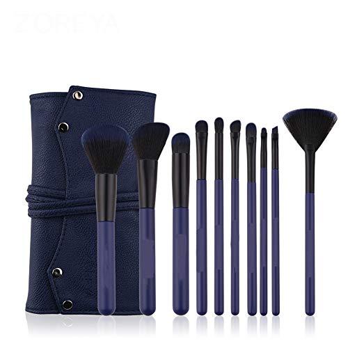 Make-up-Pinselset Portable Beginner 10 Komplette Make-up-Tools Blau für alle