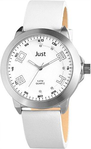 Just Watches 48-S10314ST-WH - Orologio da polso uomo, pelle, colore: bianco