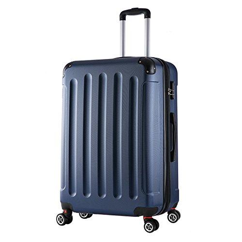 WOLTU RK4203bl, Reise Koffer Trolley Hartschale Volumen erweiterbar, Reisekoffer Hartschalenkoffer 4 Rollen, M/L/XL/Set, leicht und günstig, Blau (XL, 76 cm & 110 Liter)