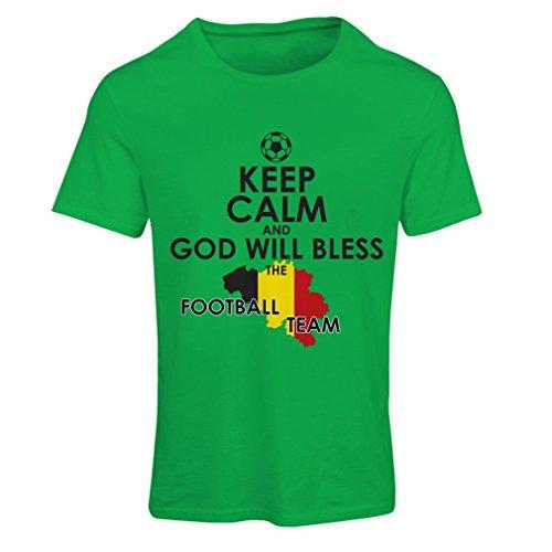 Frauen T-Shirt Gott wird die belgische Fußballmannschaft, die belgische Flagge segnen (XX-Large Grün Mehrfarben)