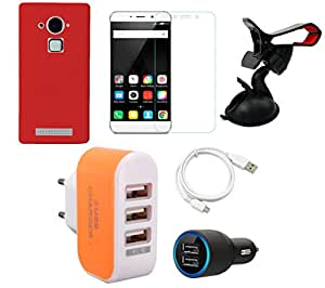NIROSHA Tempered Glass Screen Guard Cover Case Car Charger USB Cable Mobile Holder Charger car for Coolpad Note 3 - Combo