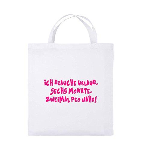 Borse Da Commedia - Ho Bisogno Di Una Vacanza - Sei Mesi - Borsa Di Juta - Manico Corto - 38x42cm - Colore: Nero / Rosa Bianco / Rosa