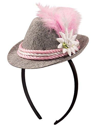 Oktoberfest Haarreif mit Mini-Hut rosa-weiss-grau Einheitsgröße