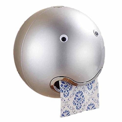 WC-Papierhalter, Frashing Ball Shaped Cute Emoji Toilettenpapierhalter Wasserdicht Toilettenpapier Box Rollenpapier Halter (Silber) (Badezimmer Hardware Zubehör)