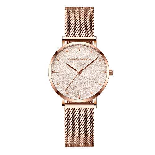 Orologi polso oro rosa quadrante smerigliato brillante al quarzo orologi donna ragazza cinturino in acciaio inossidabile milanese lusso