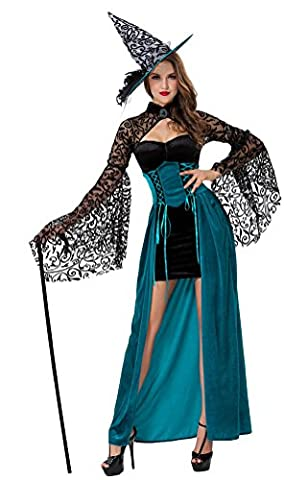SMITHROAD Halloween Kostüm Damen Hexe Kleid Lang mit Hut Karneval Schwarz und Blau Gr.36-40 (Piraten-mädchen-kostüm Uk)
