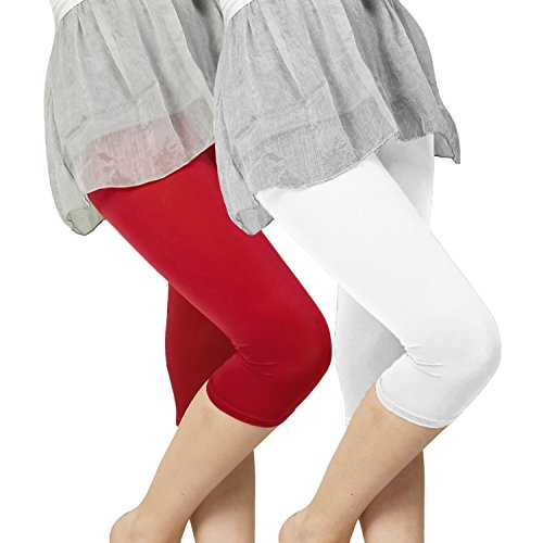 Slassy Women's Cotton 3/4 knee length Leggings Pack of 2 Red White  available at amazon for Rs.469
