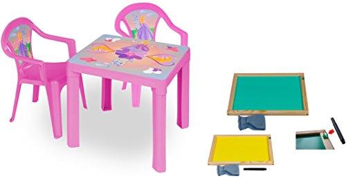 woodienchen - Kinder Gartengarnitur Tisch Stühle Kombi- Set mit Whiteboard Tafel +Stifte, Rosa (Rasen Sitzgelegenheiten)