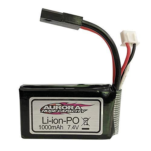 Alecony 7.4V 1000mAh Upgrade wiederaufladbarer Lipo Akku Kompatibel mit 1/16 XLH 9130 9136 9137 Auto 4WD Truck Ladegeräte Drohnen Lithiumbatterie Zubehör