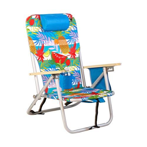 BeachMall Deluxe Rucksack mit 4 Positionen, Aluminium, mit Getränkehalter und Tasche für Trockenzellen, 977, Add Storage Pouch on Arm Rest (Rucksack Rio Stuhl)