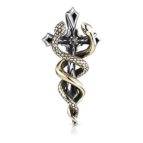 MATERIA 925 Silber Kreuz Anhänger Messing Schlangen und Mystic Topas für Damen Herren in Etui KA-171_ohne Kette