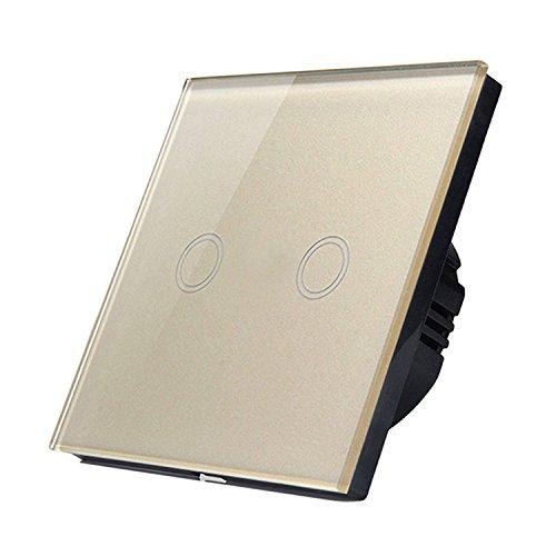 Gosear Touch Sensor Steuer Schalter Wand Panel Smart Licht Schalter EU Standard Steuer von Live Draht Zwei Weg Goldene (Draht-standard-licht-schalter)