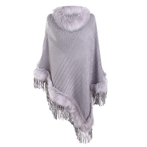 Scialli stole donna elegante cerimonia sciarpa di scialle di cashmere con frange e collo in pelliccia di lana tinta unita casual moda caldi (taglia unica, viola)