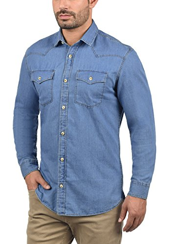 PRODUKT paulus Herren Jeanshemd Denim Shirt mit Kentkragen Aus 100% Baumwolle Medium Blue Denim
