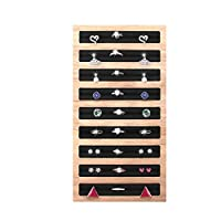 Jolicobo Wooden Display Tray - Large CapacitySlots Leather Insert Jewelry Storage Holder Earring Showcase Organizer for Drawer, Dresser, Stackable