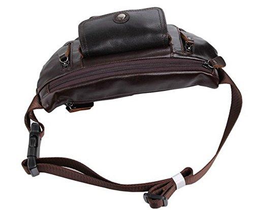 loyofun Unisex Verde Piel Auténtica Bolso Cintura Fanny Pack–Riñonera