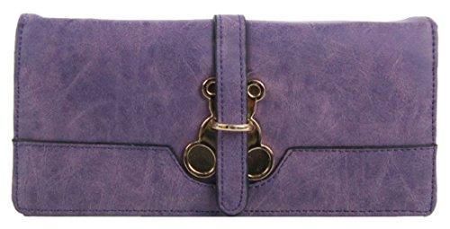 Kukubird Anteriore Orsacchiotto Metallo Dettaglio Grande Ladies Pochette Portafoglio Della Borsa Purple