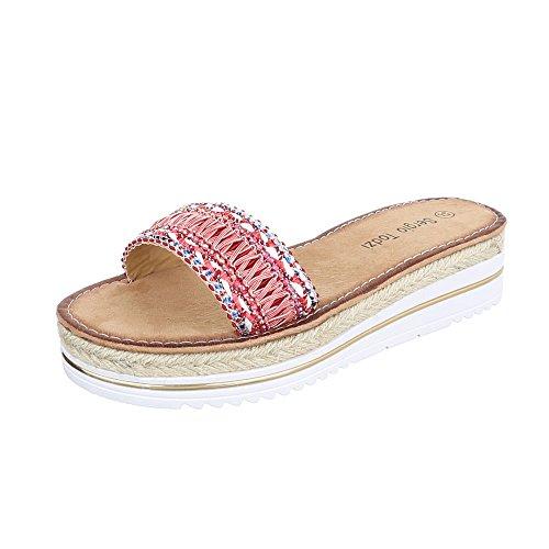 Pantoletten Damenschuhe Jazz & Modern Moderne Ital-Design Sandalen / Sandaletten Rosa Rot