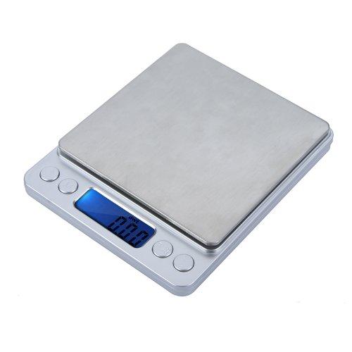 Preisvergleich Produktbild KKmoon Hohe Genauigkeit mini elektronische digitale Plattform Schmuckwaage mit zwei Tabletts Tragbare 500g / 0, 01 g Zählfunktion Blau LCD g / ct / dwt / ozt / oz / gn