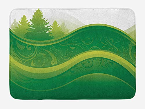 OQUYCZ Hunter Green Bath Mat, Abstract Nature with Tree and Grass Silhouette on Park Hill Graphic, Plush Bathroom Decor Mat with Non Slip Backing, 23.6 W X 15.7 W Inches, Lime and Fern Green