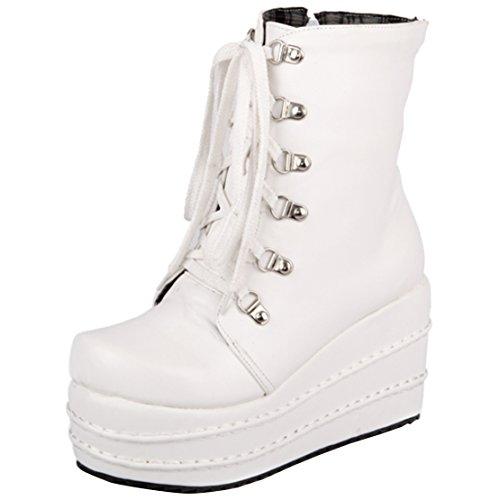 AIYOUMEI Damen Herbst Winter Plateau Keilabsatz Stiefeletten mit Schnürung und 9cm Absatz Bequem Elegant Ankle Boots
