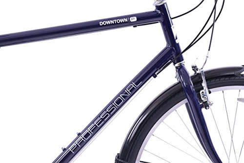 "41%2Br15H017L - Professional Downtown 700c Wheel Mens Hybrid Bike Alloy 18"" Frame Dark Blue 18 Speed & Mudguards"