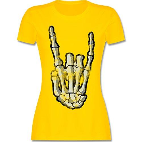 Shirtracer Metal - Metal Horns Skelett Hand - Damen T-Shirt Rundhals Gelb