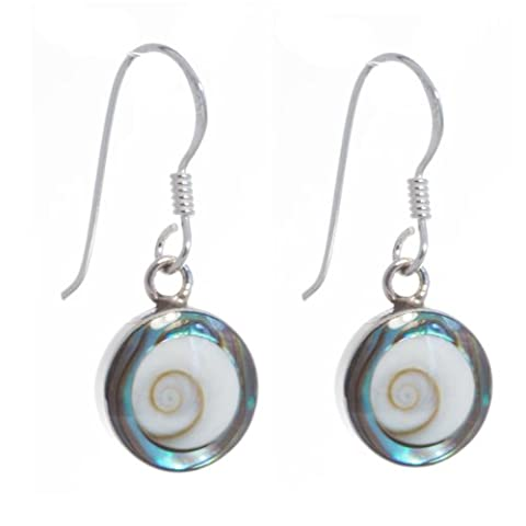 Bella Carina Damen Ohrringe mit Shiva Auge und Abalone Rand 1 cm 925 Sterling Silber