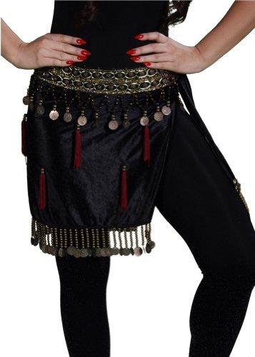 Miss per la danza del ventre tribale per la danza del ventre, sciarpa da fianchi in velluto, motivo: piramide
