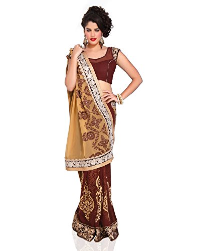 Chirag Sarees Synthetic Saree With Blouse Piece (3421_Brown_Free Size)
