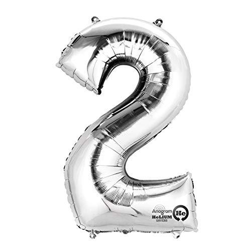 PARTY DISCOUNT® Folienballon Mini Zahl 2, Silber, 36 cm