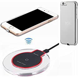 hanende Kit De Chargeur sans Fil pour iPhone 6 / iPhone 6S, Chargement sans Fil Qi et Récepteur sans Fil Portables pour iPhone 6 / iPhone 6S (Argent)