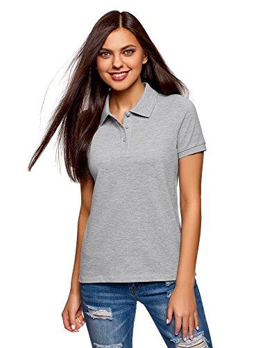 oodji Ultra Damen Tagless Baumwoll-Poloshirt Basic, Grau, DE 42/EU 44/XL