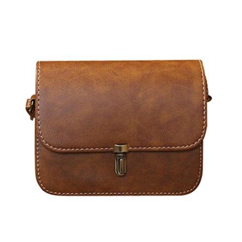 dc352e93fbc4d UFACE Modische Weibliche Kugel Lock Leder Schulter Messenger Bag Frauen  Dame Satchel Handtaschen Taschen Kurier Crossbody Tasche (Braun)