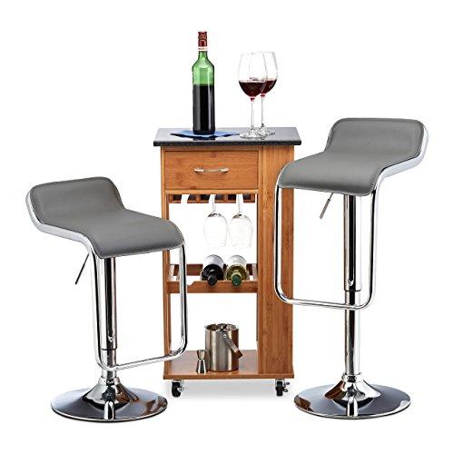 Relaxdays Barhocker 2er Set, höhenverstellbar, drehbar, bis 120 kg, Kunstleder, Metall, HxBxT: 90 x 39 x 39 cm, grau